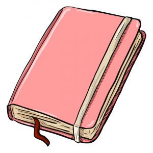 Vector Single Cartoon Pink Diary on White Background